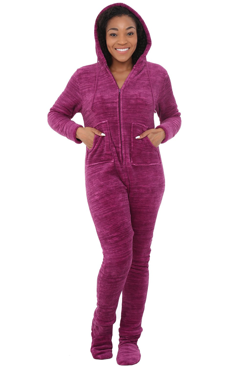 Alexander Del Rossa Womens Fleece Onesie, Hooded Footed Jumpsuit Pajamas, Large Textured Raspberry (A0322HRBLG)