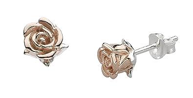 47d97162a Dew Women's 925 Sterling Silver Rose Gold Plate Blushing Stud Earrings
