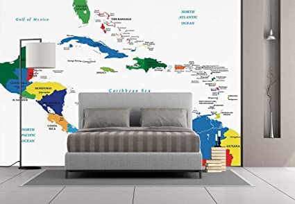 Amazon.com: Large Wall Mural Sticker [ Map,Central America and the ...