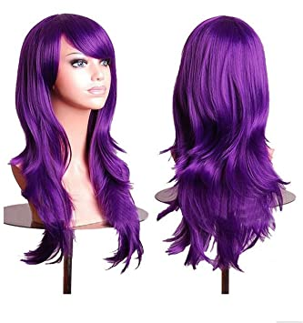 "ATOZWIG 28"" Long Curly Purple Wig Cosplay Anime Lolita Synthetic Wigs for Womens Party Pelucas"