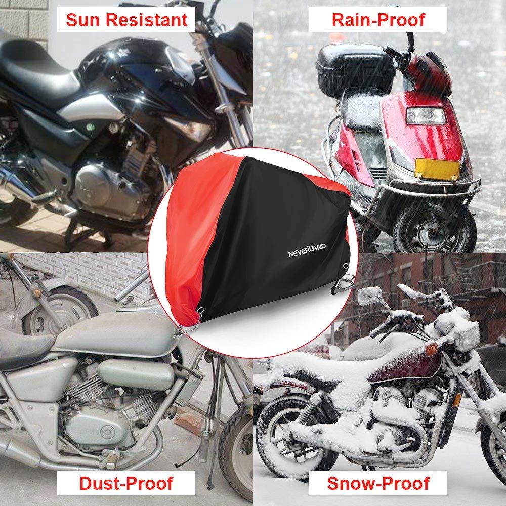 NOVSIGHT Talla XXXL Funda Cubierta Cubre de Moto Motocicleta Scooter 210D Oxford Impermeable Exterior Interior Negro+Rojo