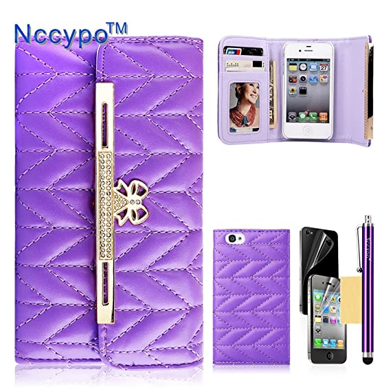 Amazon Com Nccypo Slim Fit Pu Leather Grid Skin Wallet Case With