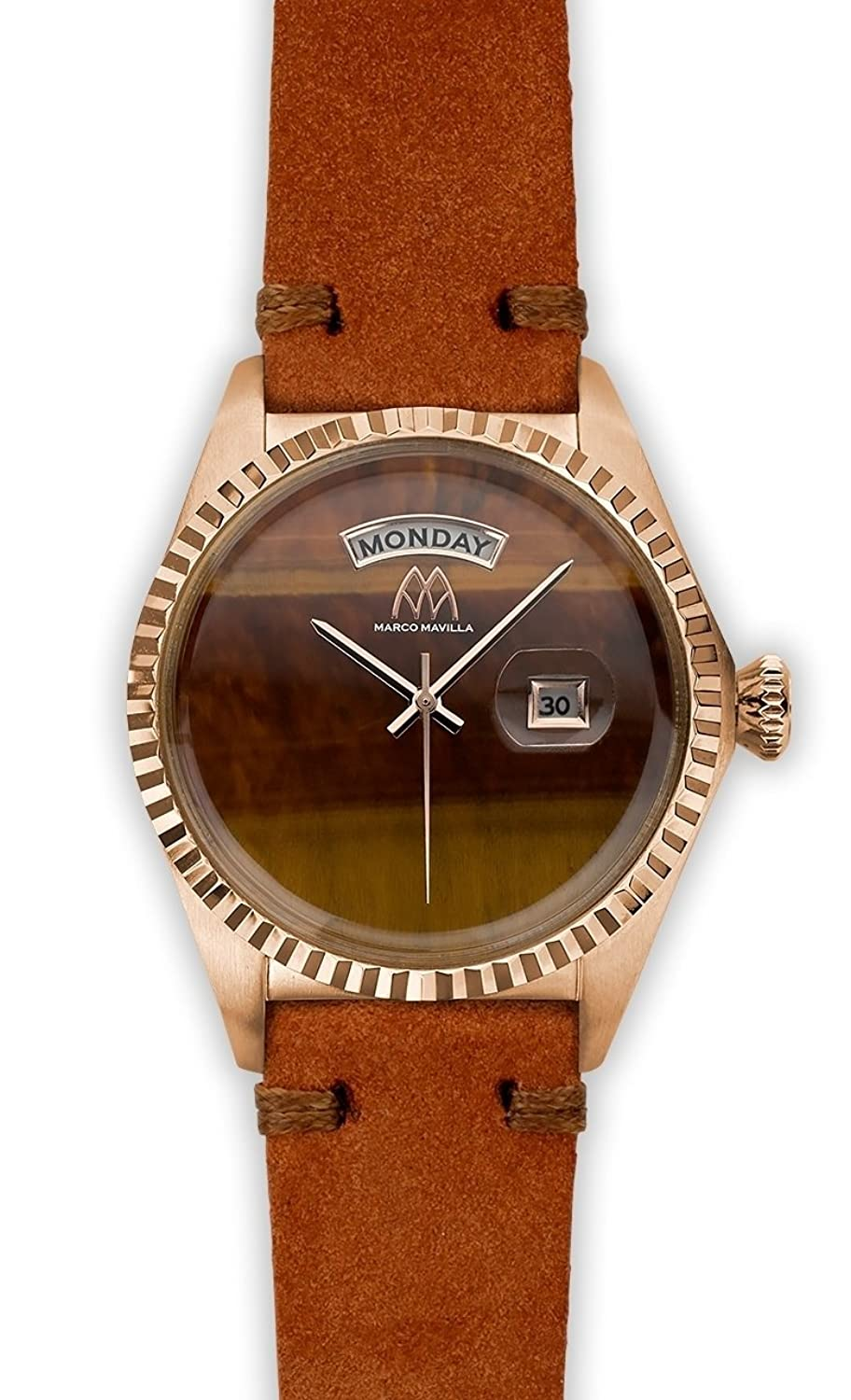 Watch Marco Mavilla Vintage Rose Gold Stone Tiger Eye Suede Strap Brick