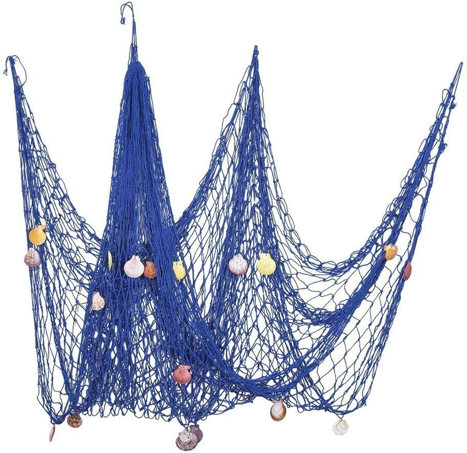 Youbedo Mediterranean Style Nautical Fish Net with Shells Blue Seaside Wall Home Decor