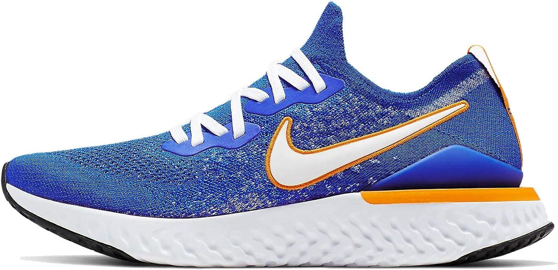 Nike Epic React Flyknit 2 Mens Cj5228-400 Size 14, Racer  Blue/White-black-orange Peel