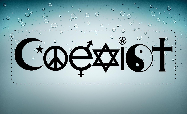 autocollant sticker voiture moto macbook coexist paix tolerance religion noir