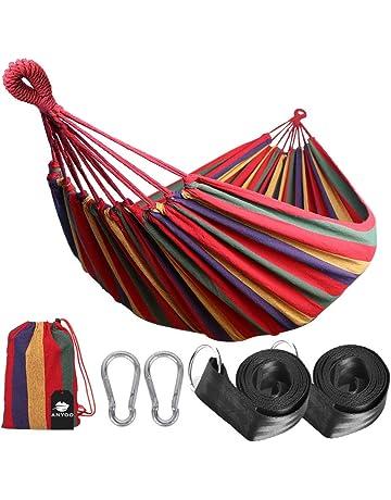 e14678f2b Anyoo Hamaca de Algodón para Jardín al Aire Libre Cama Portátil de Lona con  Cuerdas para