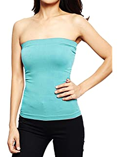 36812d9329c Hollywood Star Fashion Women s Plain Stretch Seamless Strapless Layer Tube  Top