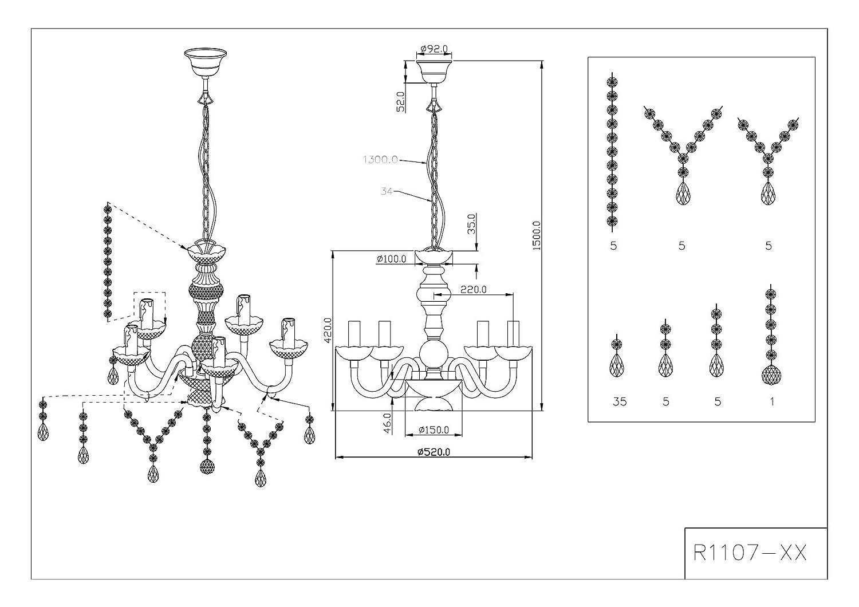Reality Leuchten Kronleuchter Kronleuchter Kronleuchter Lüster 3-flammig   aus Acryl in klar   3x E14 maximal 40 W ohne Leuchtmittel   ø  40 cm R11073000 be6c9d