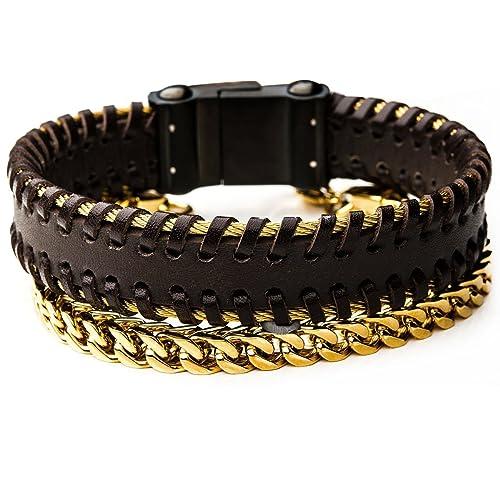 ad4d6ab9d93fc Amazon.com: Tribal Hollywood Goldmine Mens Bracelet Stack with Black ...