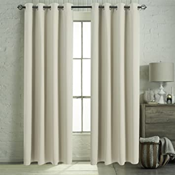 Bedroom Window Blackout Curtains Set   Aquazolax Plain Blackout Curtain  Panels 52 By 84 Inch Thermal