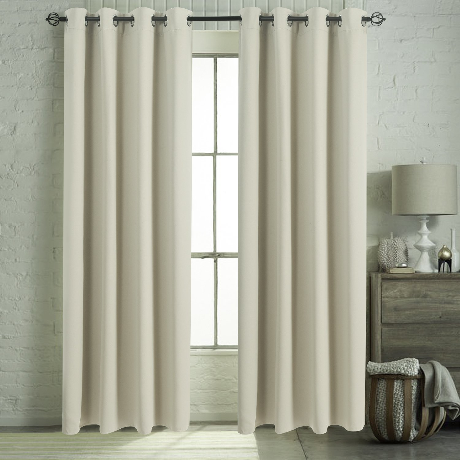 Aquazolax Blackout Curtain Panels for French Door Thermal Insulated Grommet Top Blackout Draperies and Drapes for Bedroom, 2 Panels, W54 x L72 -Inch, Beige