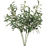 """Htmeing 28"""" Artificial Olive Stems Branches Fake Plants Green Leaves Fruits for Home Office Decor(4pcs)"""