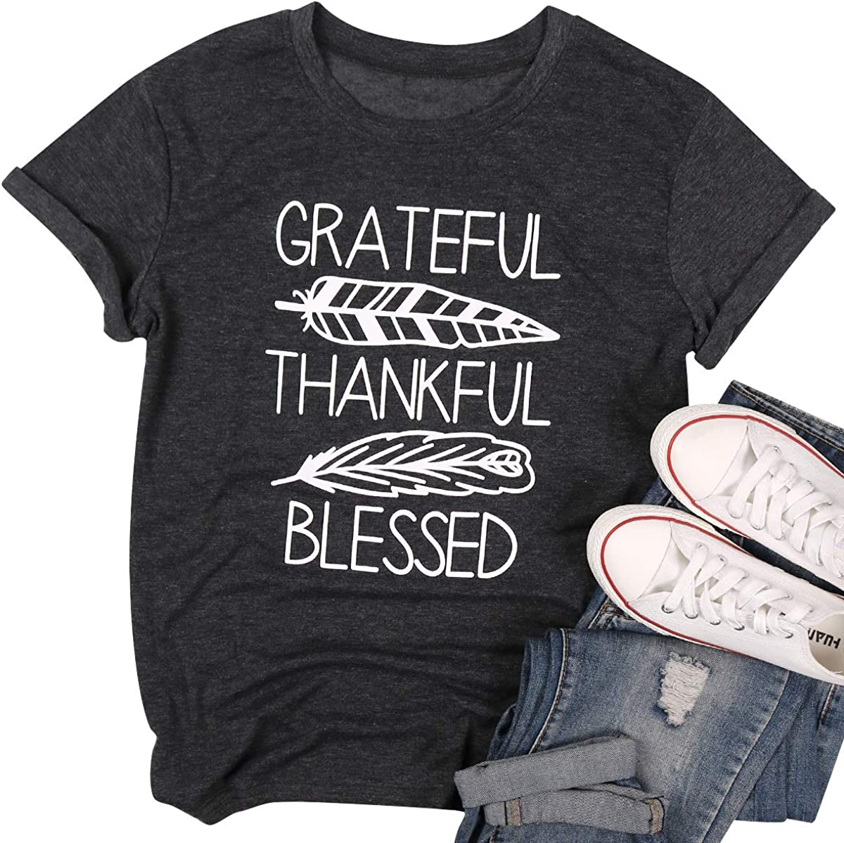 LUKYCILD Women Grateful Thankful Blessed Thanksgiving Shirt Casual Short Sleeve Feather Print Top