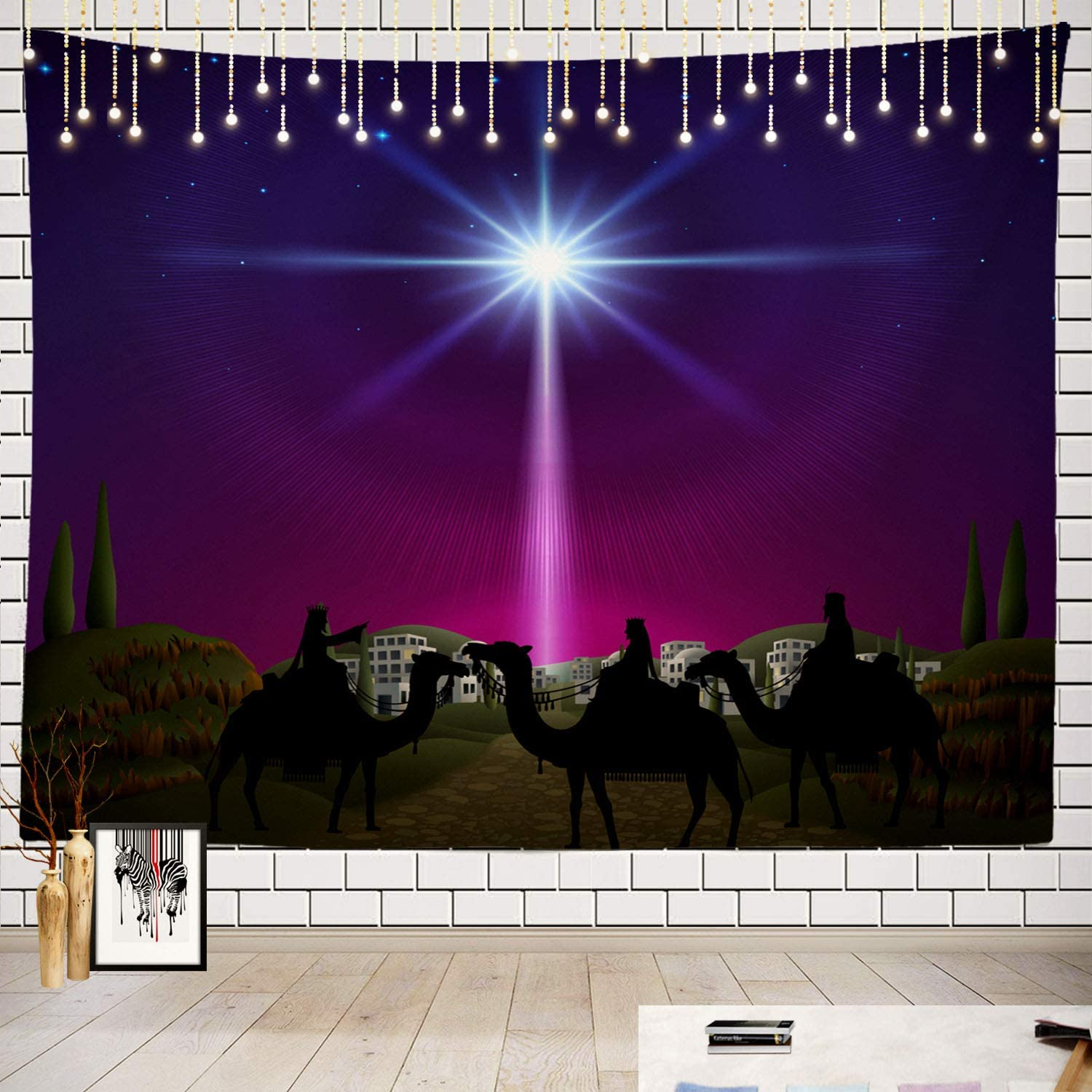 Batmerry Star Tapestry, Christmas Nativity Scene Bethlehem Star Wise Men Bible Picnic Mat Beach Towel Wall Art Decoration for Bedroom Living Room Dorm, 51.2 x 59.1 Inches, Camel Dusk