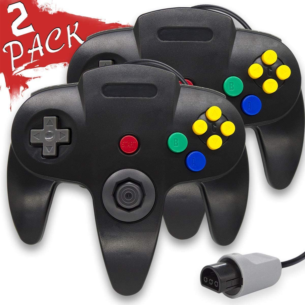 Wired Controller for Nintendo 64 N64 Console, Upgraded Joystick Classic Video Game Gamepad (Black and Black)