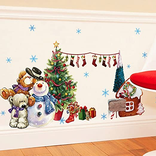 Amazon Com Anber Merry Christmas Wall Sticker Santa Snowman Removable Vinyl Wall Decals Window Xmas Self Adhesive Holiday Home Decoration Home Kitchen