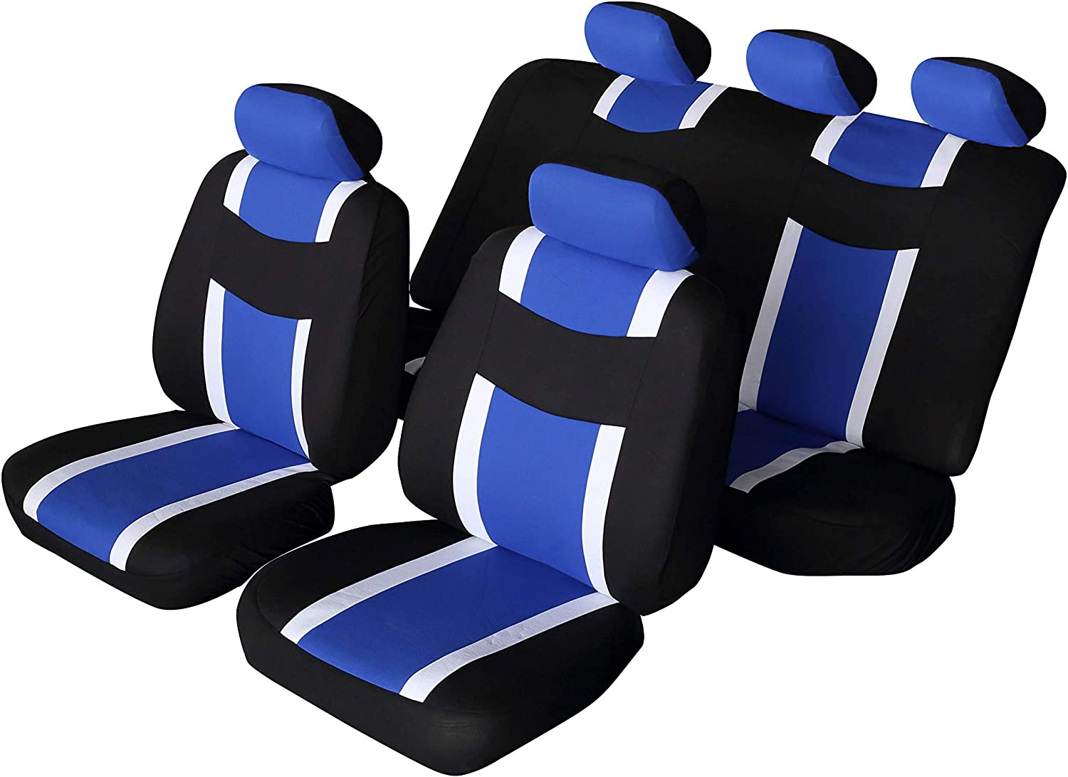 flatcloth Blue, Full Set AUTONISE Universal fit Classic Sport Bucket seat Cover Fit Most Car,Truck, SUV, or Van with headrest Airbag Compatible