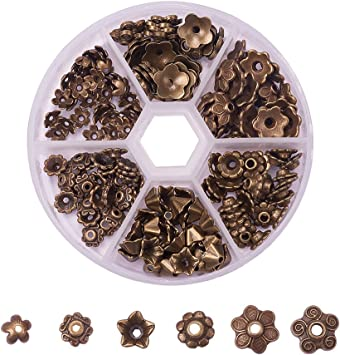 100 Antique Bronze Flower Bead Caps 15 mm in diameter