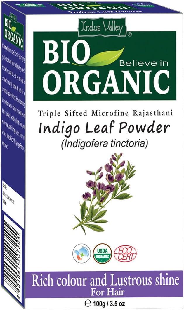 Indus Valley BIO Organic Indigo (Indigofera Tinctoria) Leaf Powder Natural Herbal Hair Dye Color With Recipe Book - 100 Gm