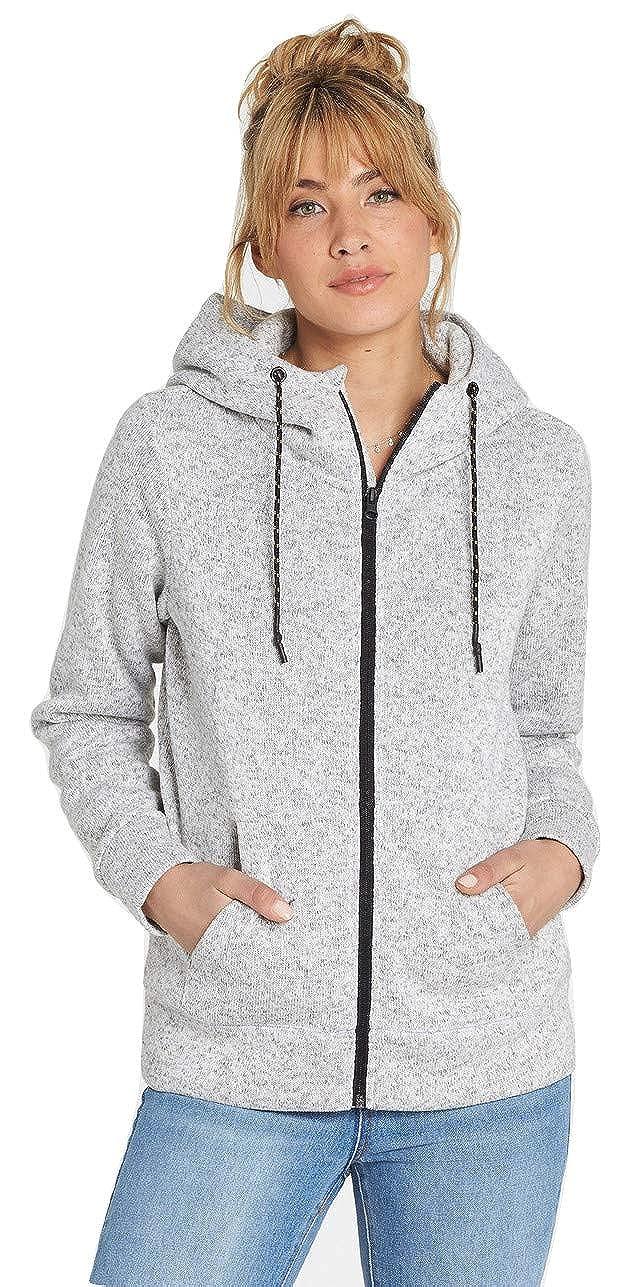 Billabong Womens A/DIV Boundary Fleece Zip Up Hoodie J623SBBO, Grey Heather, M