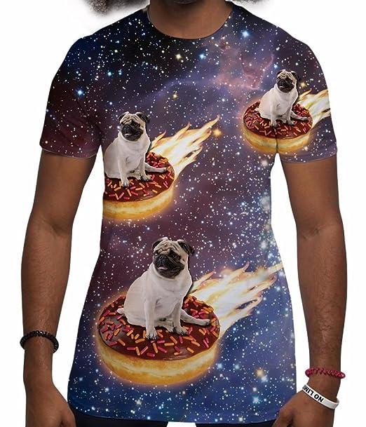 Camisetas Totalmente Impresas por sublimación en 3D para Hombre con Perro Espacial: Amazon.es: Ropa y accesorios