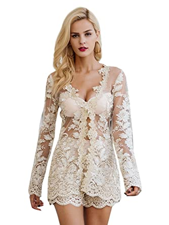 ae259e498b8 Simplee Apparel Women s Embroidered Lace V Neck Romper 2 Set Playsuit Romper  Short Jumpsuit Gold 6