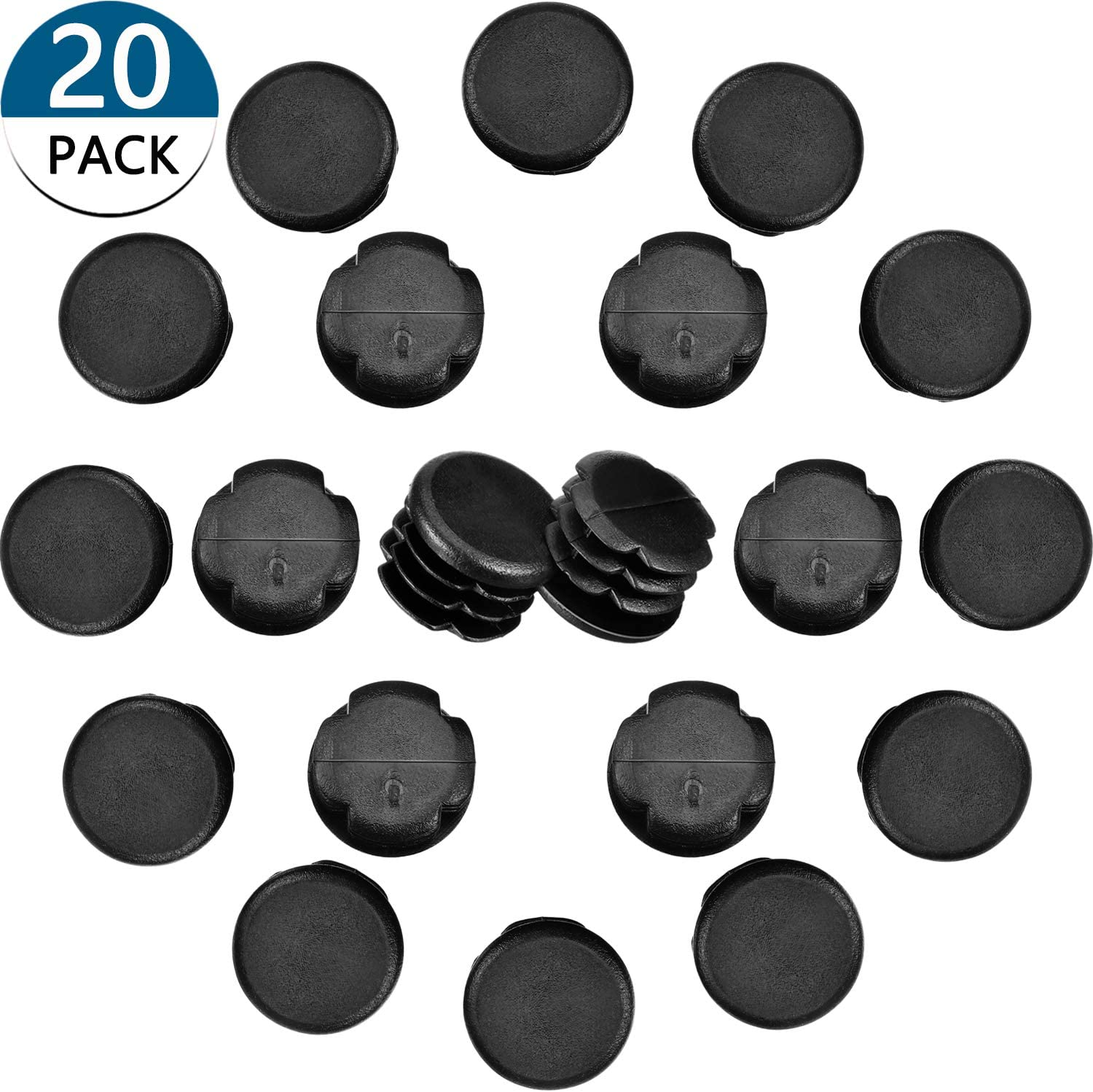 20 Pieces 1 Inch Round Plastic Plug Pipe Tubing End Cap Durable Chair Glide Round Pipe End Cap Cover for Table Chair Furniture Legs Black