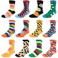4e064dcab764 Men's Colorful Dress Socks - Fun Patterned Funky Crew Socks For Men - 12  Pack