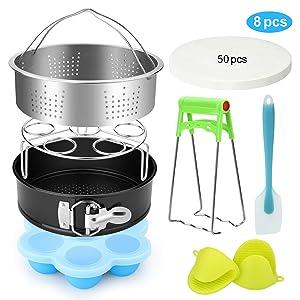 Pressure Cooker Accessories, FITNATE 8 Pack Accessories Set for Steamer Cooker Including Steamer Basket, Egg Bites Mold, Egg Steamer Rack, Non-Stick Springform Pan, Fits 5qt, 6qt, 8qt Pressure Cooker