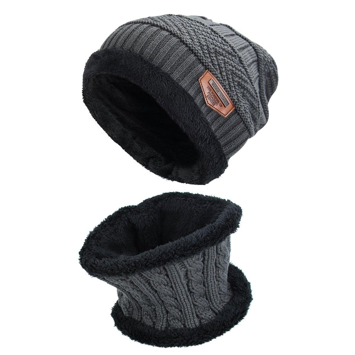 Conjunto de sombrero y Bufanda , hombre y mujer sombrero Caliente de Punto y Bufanda de Forro de Lana, 2 Piezas (50 - 60cm, Gris ) RUNFON