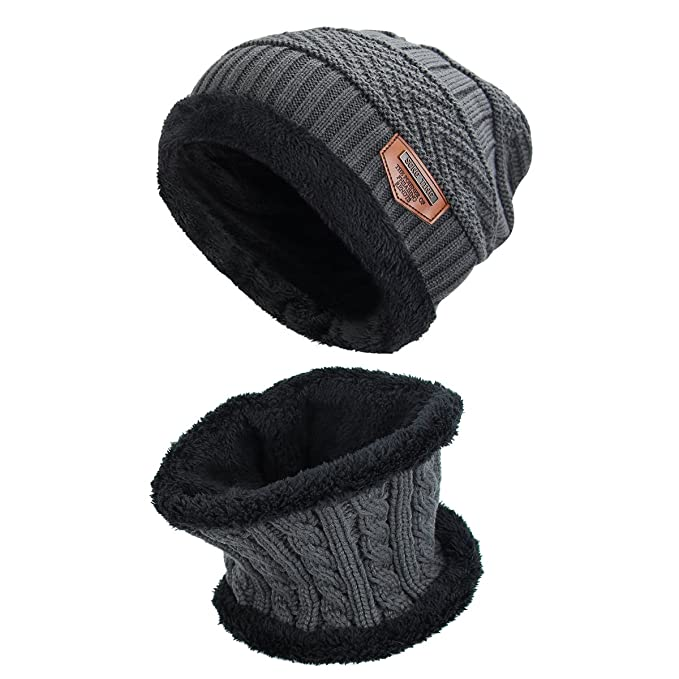 2 Teilig Wintermütze mit Schal Skimütze Strickmütze Fleecefutter Fell Schwarz