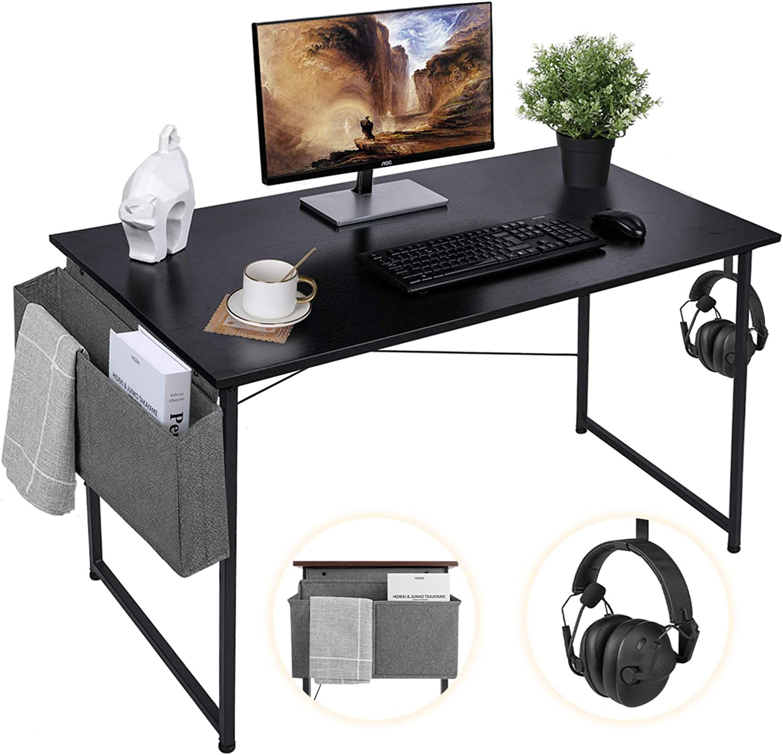 AuAg 47'' Computer Desk Home Office Desk with Storage Bag, Simple Writing Desk Work Desk, Black Modern Desk Office Table Sturdy Laptop Desk PC Gaming Desk Home Desk Workstation- Black Desktop