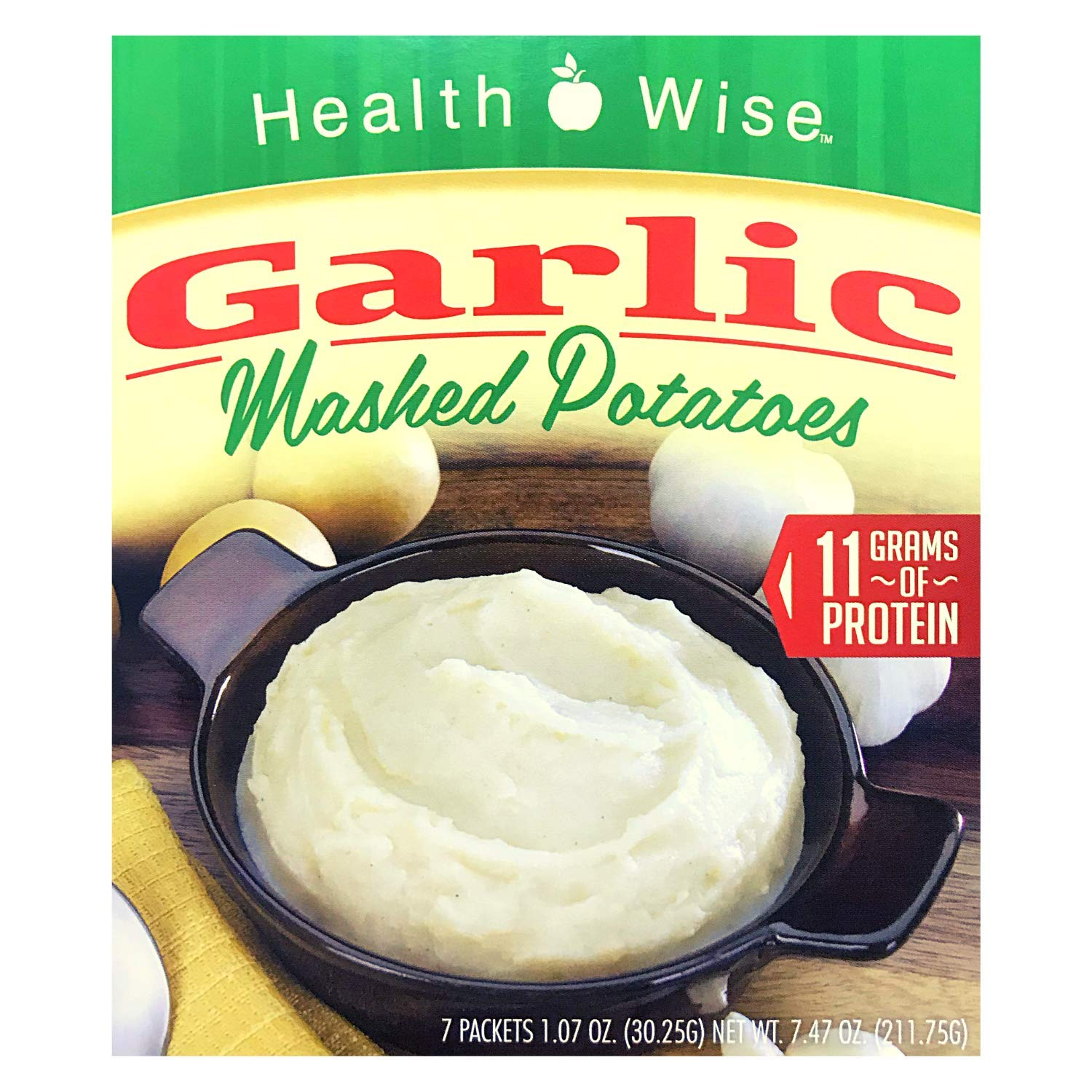 Healthwise - Garlic Mashed Potatoes - 7 Servings - Potato Puree - Light Entrée or Healthy Side Dish - High Protein - Low Calorie - Low Fat - Gluten Free (1 Pack)