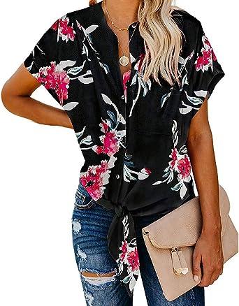 Lurcardo Camisetas Mujer, 2019 Camisas Mujer Blusas para Mujer Verano de Talla Grande con Cuello y Botón de Manga Corta Estampado Bolsillo Anudado Túnica Tops Shirt Blusa Ropa de Mujer Casual T-Shirt: