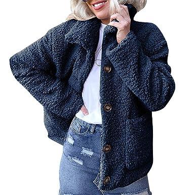 Rovinci☆ Abrigos para Mujer Invierno cálido Abrigos Chaqueta Solapa Bolsillos con Botones Ropa de Abrigo: Amazon.es: Ropa y accesorios