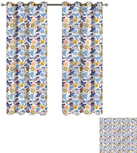 """Cash Hoover Kids Curtain Baby,Cats and Fishes Love Games,for Bedroom,Nursery,Living Room 26"""" Wx62 L,2 Panels"""