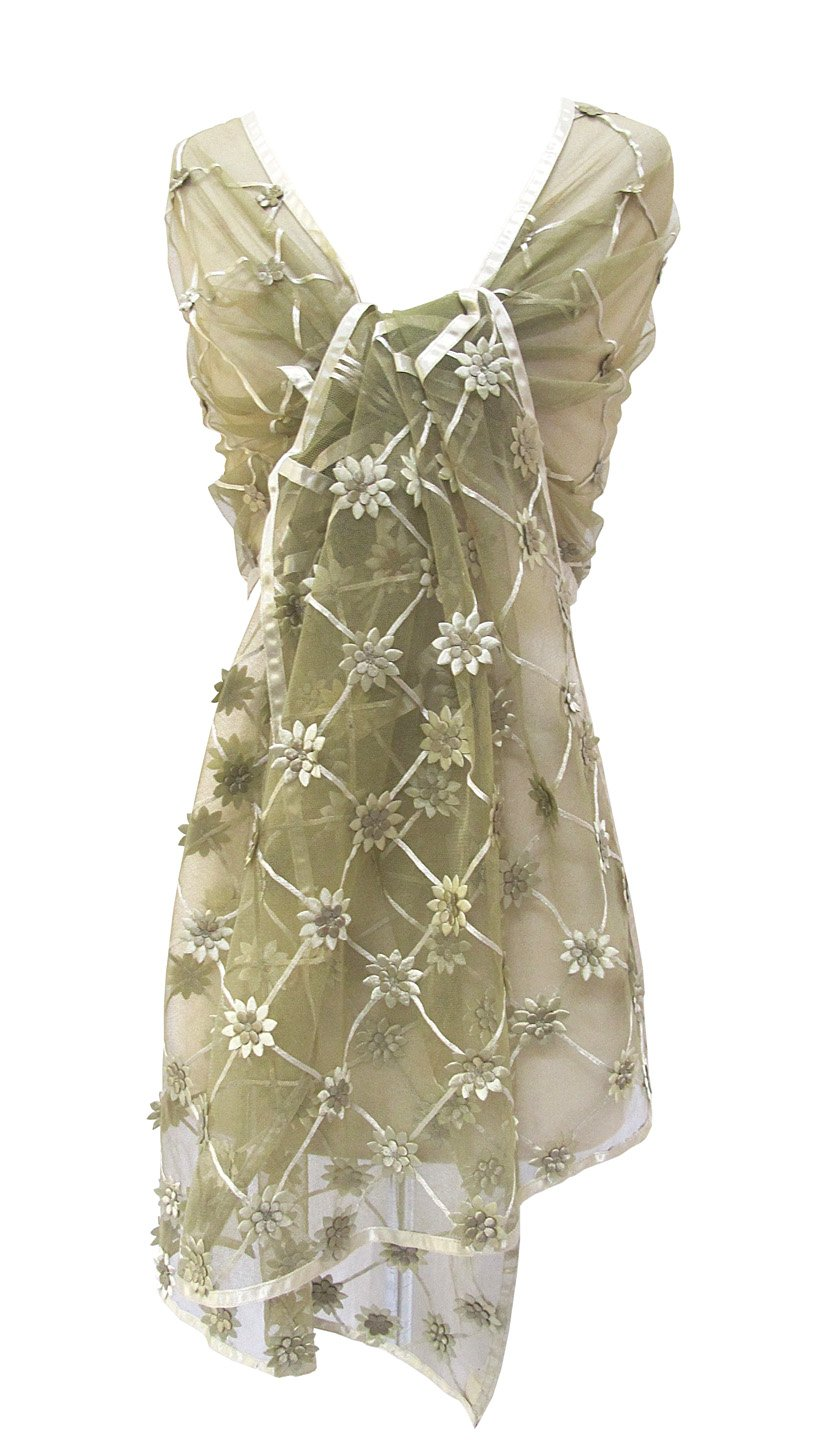 Daisy Ribbon Floral Appliqued Net Stole Scarf Shawl Wrap Table Runner Sage Green
