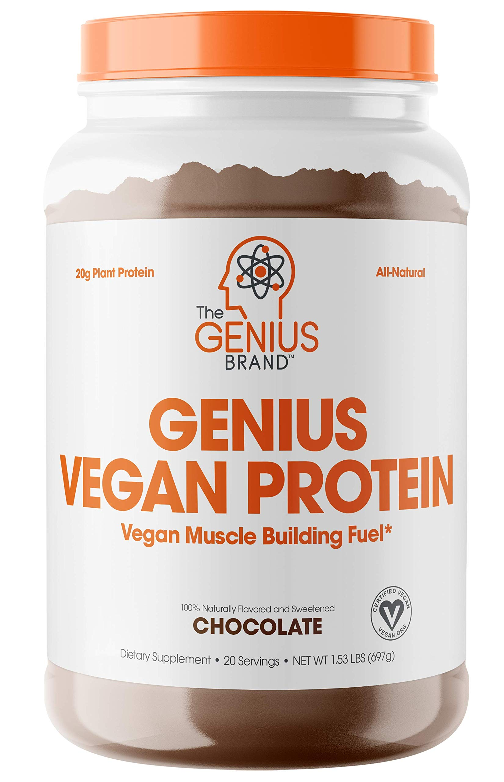 Genius Vegan Protein Powder - Plant Based Lean Muscle Building Shake | Best Pea + Pumpkin Protein Sources - Ideal Lean Body Shake for Men & Women - All in One Nutritional Sport Drink (Dairy Free) by The Genius Brand