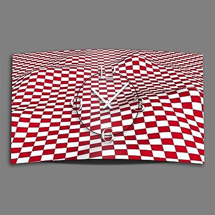 Digital – Tipo de cuadros rojo/blanco diseñador Reloj de pared moderno abstracto Relojes de