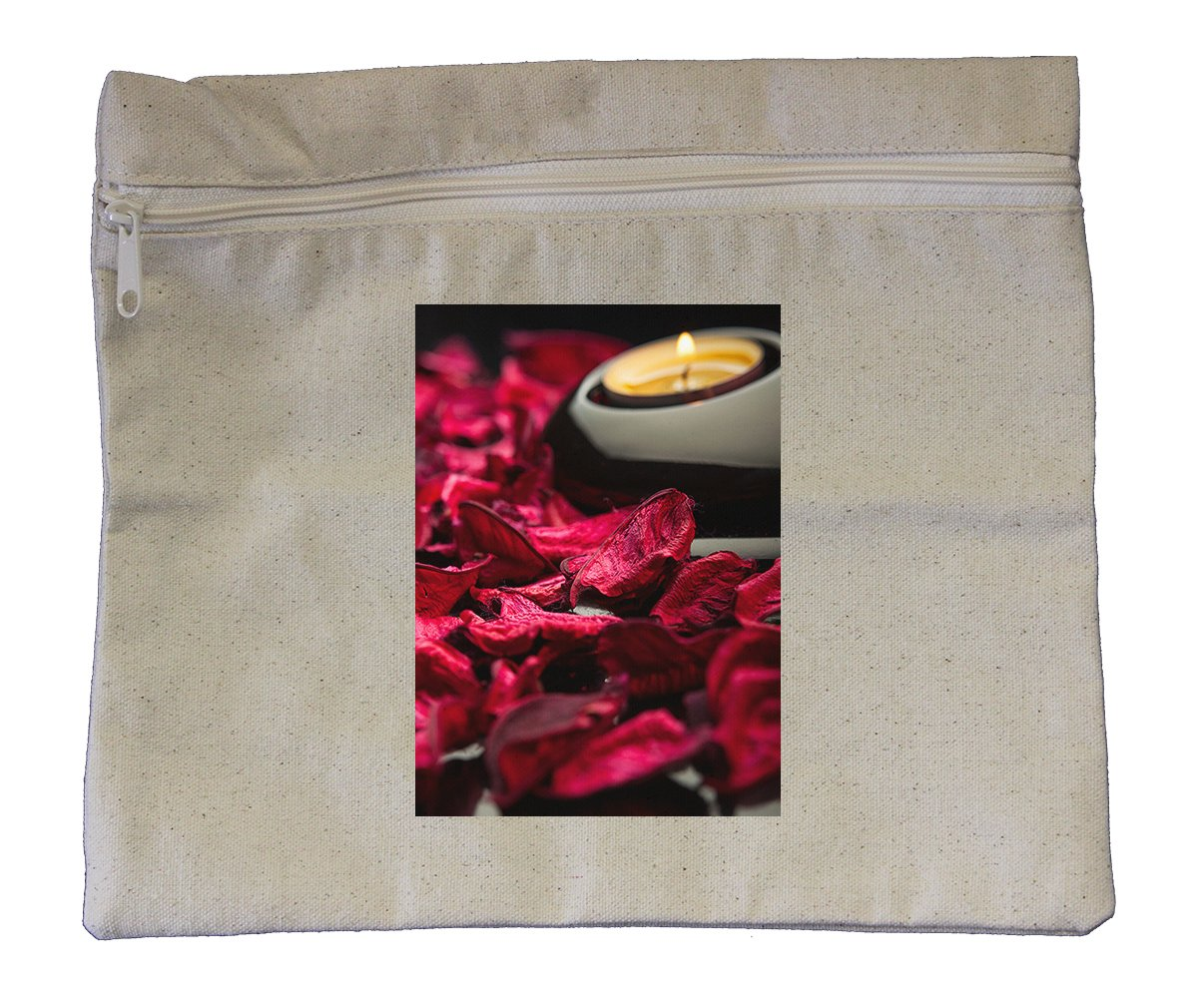 Canvas Zipper Pouch Tote Bag 10''X12'' Spa Background Petals Stones And Candle
