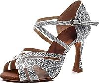 Syrads Zapatos de Baile Latino para Mujer Salsa Tango Bachata Vals con Pedrería Zapatos de Baile de Salón Suela Blanda 1050
