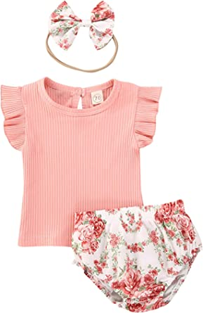 Newborn Baby Girl Floral Outfits Kid Ruffle Sleeve Romper Printed Shorts Set 3pc Infant Ribbed Summer Clothes