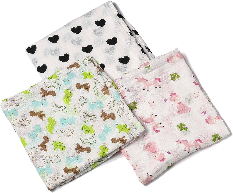 Manta cuadrada grande de muselina para bebé Swaddle 100% algodón suave para bebé – Pack de 3