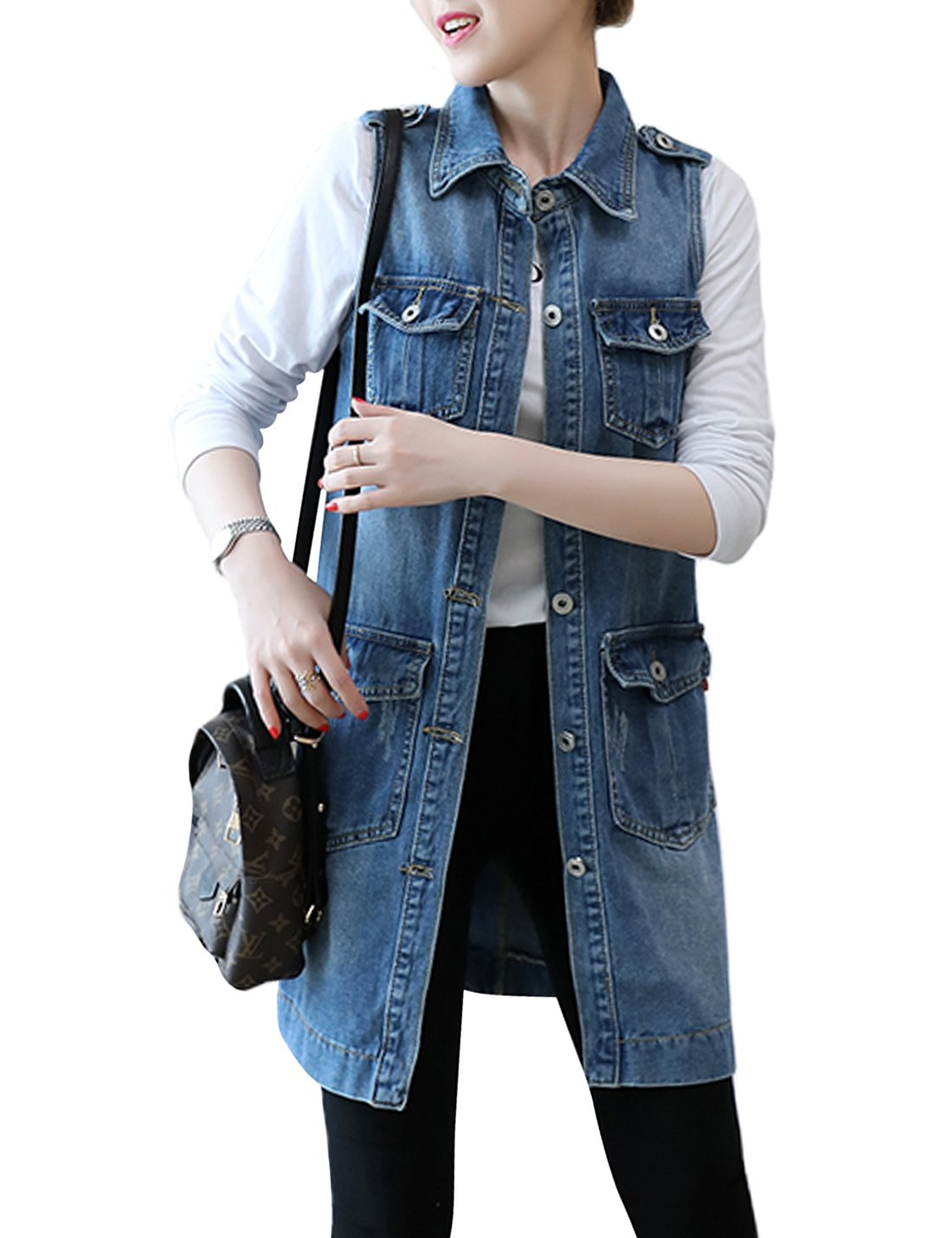 Tanming Women's Single Breasted Jean Vest (Large, Vest-Blue TM2)