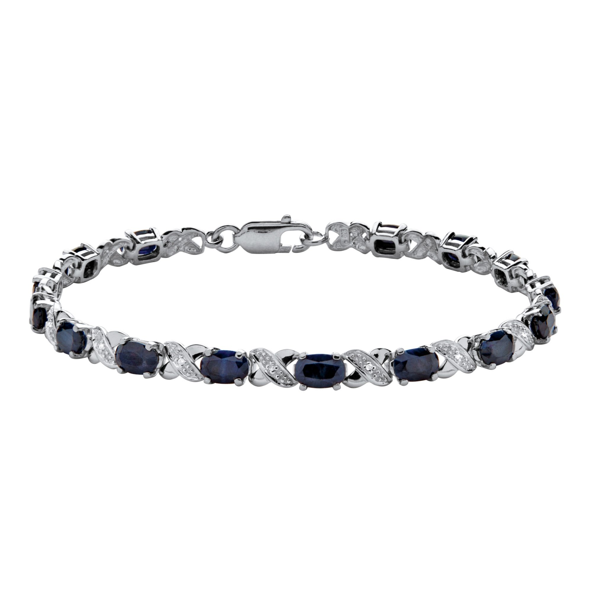 Platinum over Sterling Silver XO Bracelet (4.5mm), Genuine Blue Sapphire and Diamond Accent, 7.5'' by SETA