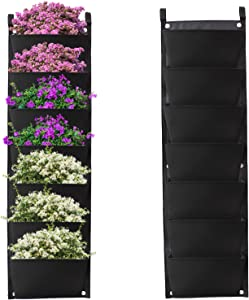 Hanging Planter Bags Waterproof 7 Pocket Garden Vertical Planter Bags Wall-Mounted Felt Planting Grow Bags Outdoor Indoor Gardening Flower Container Plant Grow Bag for Flower Vegetable