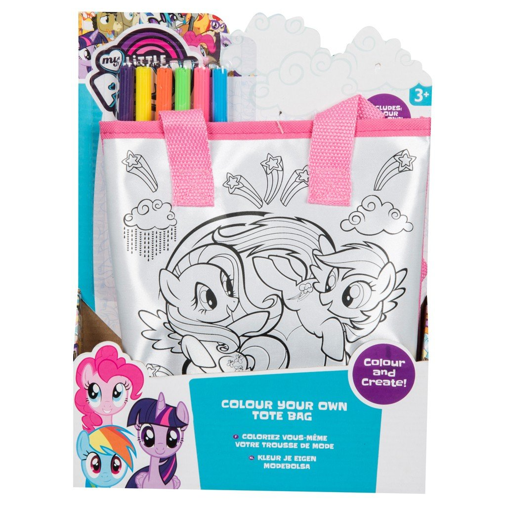 My Little Pony Colour Your Own Tote Bag Children' s Craft Set With Bag 6 Pens SAMBRO