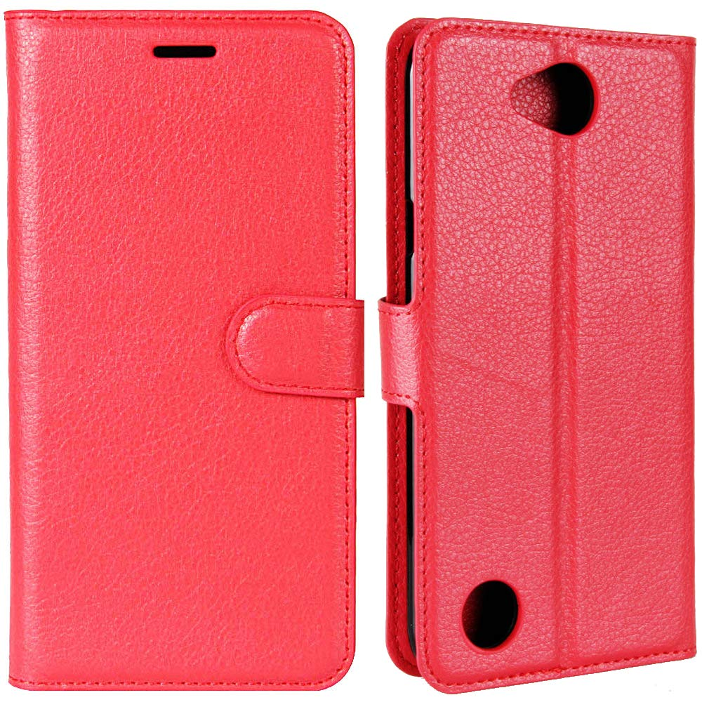TWOBEAR Flip Leather Wallet Case for LG X Charge, LG Fiesta 2, LG Fiesta LTE, LG X Power 2 (US Version) Card Pocket Magnetic-Clasp Stand Feature Line Sewn Edge Anti-Crack Anti-Scratch Anti-Drop, Red