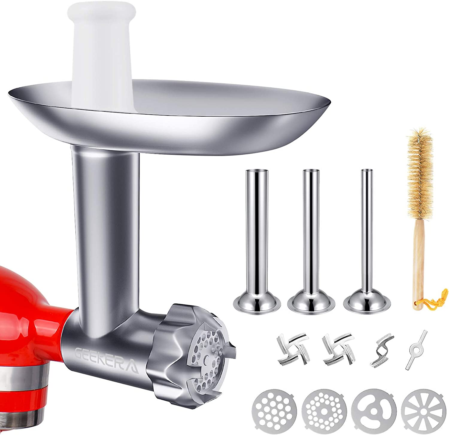 Metal Food Grinder Attachments for KitchenAid Stand Mixers, GEEKERA Durable Meat Grinder Sausage Stuffer Attachment Compatible with KitchenAid, Includes 3 Sausage Stuffer Tubes